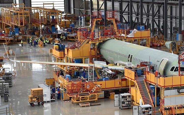 Một chiếc A320 được lắp ráp tại Thiên Tân, Trung Quốc. Ảnh: Xinhua