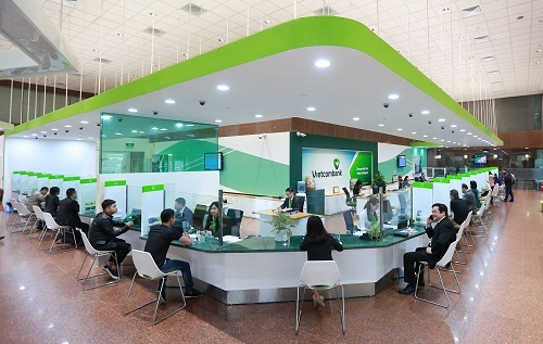 Quầy giao dịch của Vietcombank.
