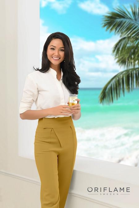 Hoa hậu HHen Nie làđại sứ thương hiệu Oriflame tạiViệt Nam.