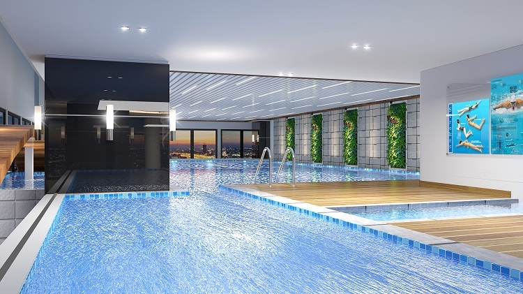 Phối cảnh bể bơi Sky View tại dự án.