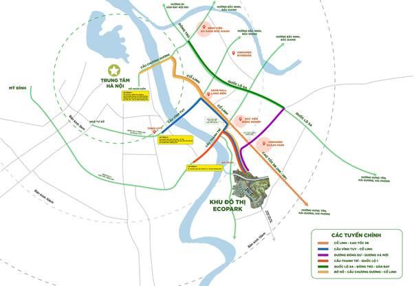 Ecopark nằm vị trí đắc địa, dễ dàng kết nối với các tuyến đường giao thông quan trọng.  Phía Đông Nam Hà Nội hút nhiều ông lớn bất động sản image001 8838 1581997614