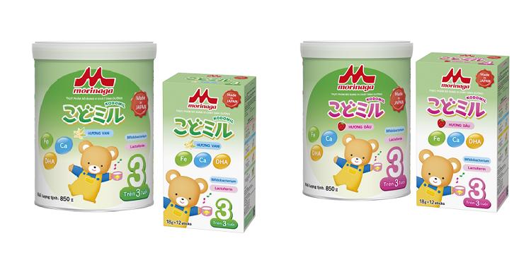 Bao bì Kodomil nổi bật với logo Morinaga nằm ở vị trí chính diện, thông tin được viết bằng tiếng Việt để các mẹ dễ dàng tiếp cận sản phẩm.