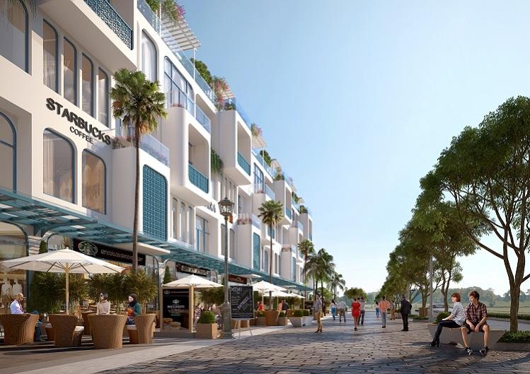 Phối cảnh một góc dự án shoptel Thera Premium (Tuy Hòa, Phú Yên) với quy hoạch không gian phù hợp kinh doanh đa dạng loại hình dịch vụ du lịch.