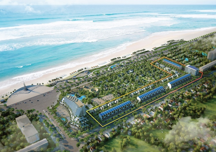 Tổng thể dự án Thera Premium trong khu nghỉ dưỡng Việt Beach trên tuyến đường đẹp nhất thành phố Tuy Hòa.