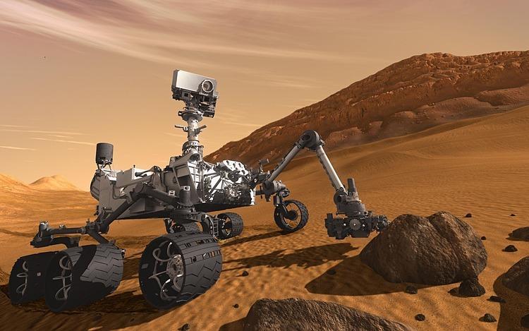 Robot thám hiểm Curiosity của NASA trên sao Hỏa. Ảnh đồ họa: NASA