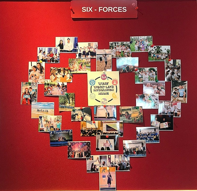 Khu vực treo những tấm ảnh thể hiện thông điệp work-life integration, sự trọn vẹn giữa cuộc sống và công việc của các nhân viên Mekong Capital . Ảnh: Mekong Capital