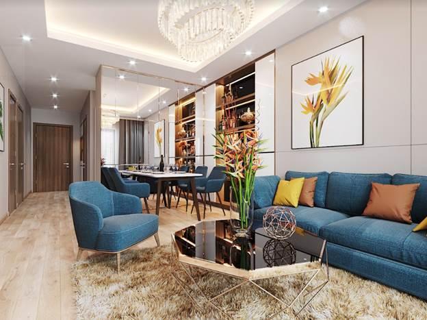 Bên trong không gian sinh hoạt chung có phòng khách, phòng ăn rộng rãi, đầy đủ ánh sáng của gia đình