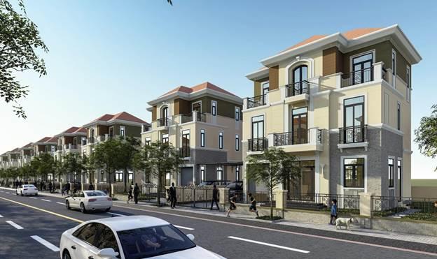 Phối cảnh khu nhà phố tại dự án.