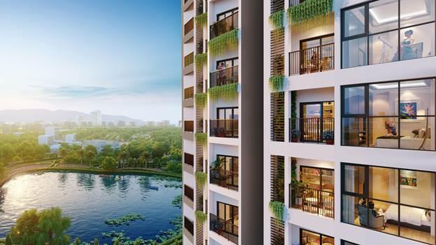 Một số căn hộ tại dự án có tầm nhìn thẳng ra hồ sinh thái.