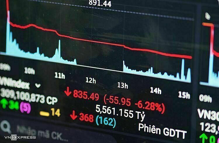 VN-Index ngày 9/3 giảm 6,28%, đi vào lịch sử ngành chứng khoán là một trong những phiên tồi tệ nhất. Ảnh: Minh Sơn