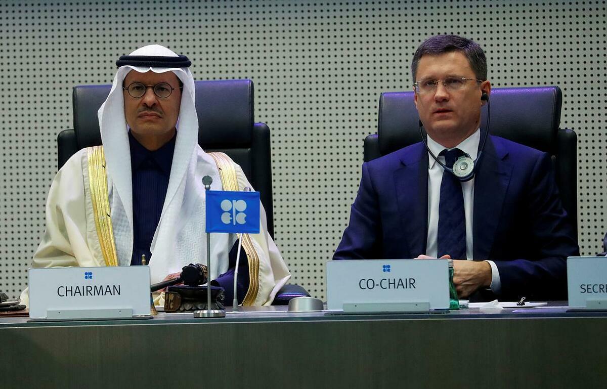 Bộ trưởng Năng lượng Saudi Arabia Abdulaziz bin Salman Al-Saud và Bộ trưởng Năng lượng Nga Alexander Novak trong cuộc họp tháng 12/2019. Ảnh: Reuters
