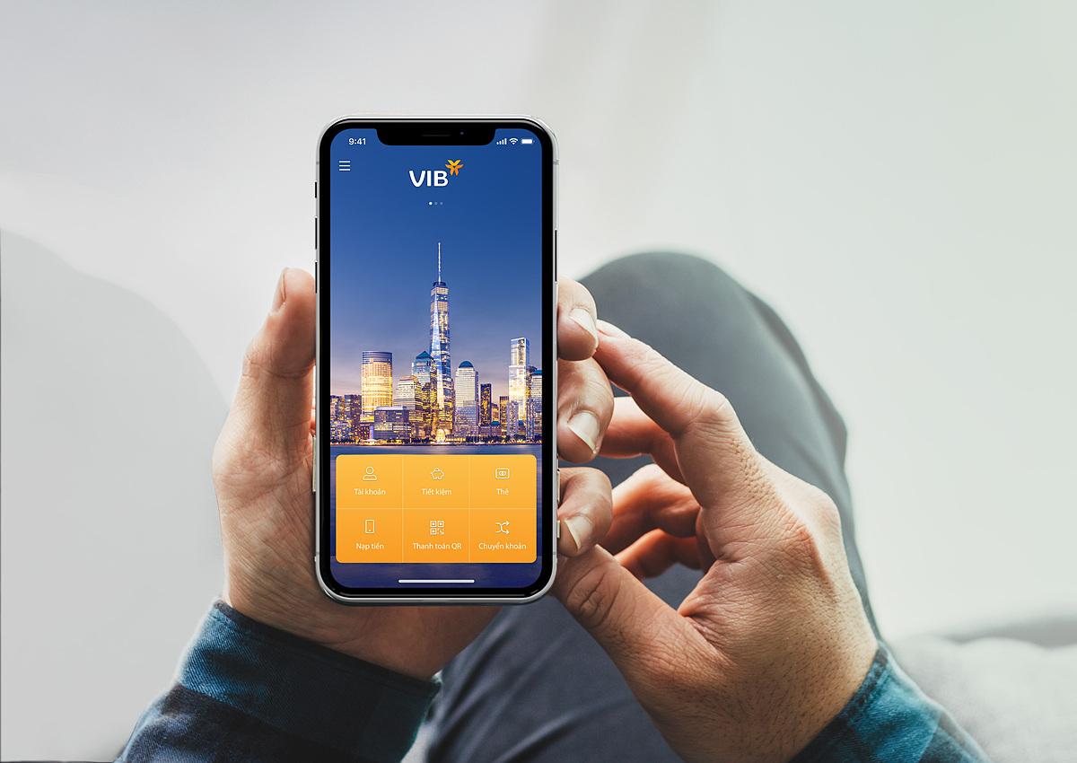 Giao diện ứng dụng ngân hàng di động MyVIB phiên bản mới.