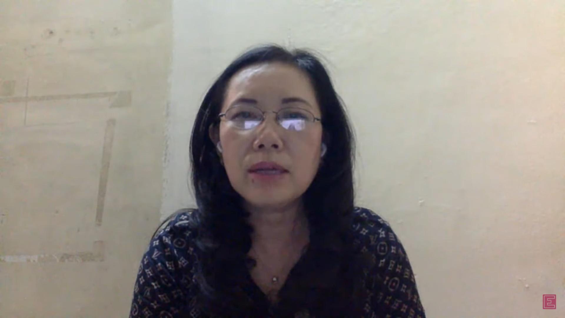 Bà Đỗ Thị Thúy Hương - Phó chủ tịch Hiệp hội Công nghiệp Hỗ trợ Việt Nam trong tọa đàm trực tuyến.