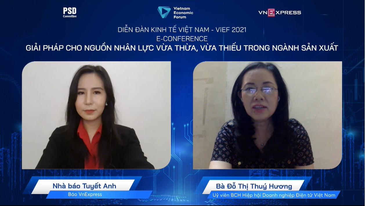 Bà Đỗ Thị Thúy Hương - Phó chủ tịch Hiệp hội Công nghiệp Hỗ trợ Việt Nam, đại diện Hiệp hội doanh nghiệp điện tử Việt Nam, ủy viên HĐQT Tổng công ty cổ phần Điện tử và Tin học Việt Nam (UpCOM).